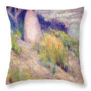 Landscape With Figure In Pink Throw Pillow
