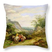 Landscape With Figures And Cattle Throw Pillow by James Leakey