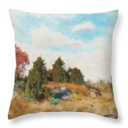 Landscape With Fox Throw Pillow