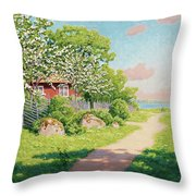 Landscape With Fruit Trees Throw Pillow