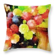 Landscape With Giant Grapes Throw Pillow