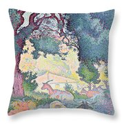 Landscape With Goats Throw Pillow
