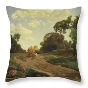 Landscape With Haywagon Throw Pillow