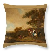 Landscape With Hunting Party Throw Pillow