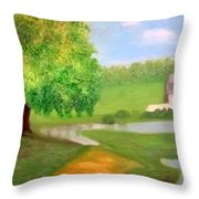Landscape With Luxuriant Tree And Folly Throw Pillow