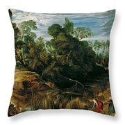 Landscape With Milkmaids And Cows Throw Pillow