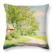 Landscape With Pickling Hens Throw Pillow