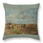 Landscape With Ploughmen Throw Pillow