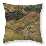 Landscape With Rabbits Saint Remy De Provence December 1889 Vincent Van Gogh 1853  1890 Throw Pillow