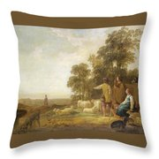 Landscape With Shepherds And Shepherdesses Near A Well Throw Pillow