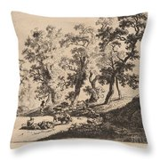 Landscape With Shepherds Throw Pillow