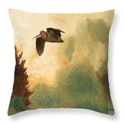 Landscape With Snipe Throw Pillow