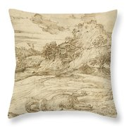 Landscape With St. Theodore Overcoming The Dragon Throw Pillow