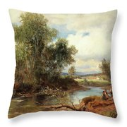 Landscape With Stream And Decorative Figures Throw Pillow