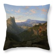 Landscape With The Castle Of Montsegur Throw Pillow