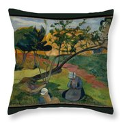 Landscape With Two Breton Women Throw Pillow