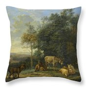Landscape With Two Donkeys, Goats And Pigs Throw Pillow