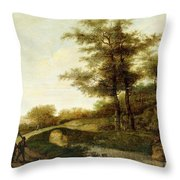 Landscape With Village Path And Men Throw Pillow
