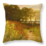 Landscape With Wild Flowers And Rabbits Throw Pillow