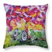Landscape Women Bike Throw Pillow