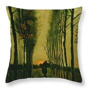 Lane Of Poplars At Sunset Throw Pillow