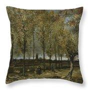 Lane With Poplars Near Nuenen Throw Pillow