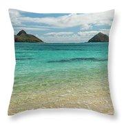 Lanikai Beach 4 Pano - Oahu Hawaii Throw Pillow