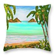Lanikai Beach Oahu Hawaii #358 Throw Pillow