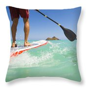 Lanikai Stand Up Paddling Throw Pillow