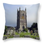 Lansallos Church Cornwall Throw Pillow