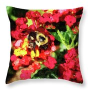 Lantanas And The Bee Throw Pillow