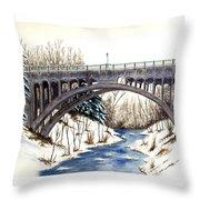 Lanterman Falls Bridge - Mill Creek Park Throw Pillow