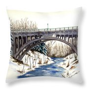 Lanterman Falls Bridge - Mill Creek Park Throw Pillow