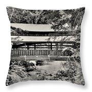 Lanterman's Mill Covered Bridge Black And White Throw Pillow