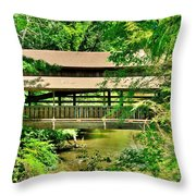 Lanterman's Mill Covered Bridge Throw Pillow