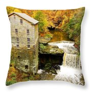 Lantermans Mill In Fall Throw Pillow