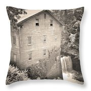Lanterman's Mill In Mill Creek Park Black And White Throw Pillow