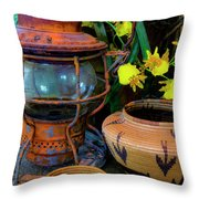 Lantern With Baskets Throw Pillow