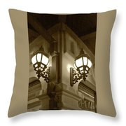 Lanterns - Night In The City - In Sepia Throw Pillow