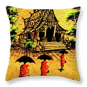 Procession To Temple, Lao Collection Throw Pillow