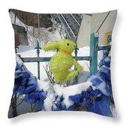Lapin Vert / Green Bunny Throw Pillow