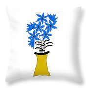 Blue Pointed Flowers Throw Pillow
