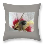 Large Bumble Bee In Flower Throw Pillow