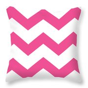 Large Chevron With Border In French Pink Throw Pillow