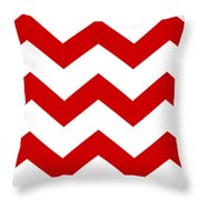 Large Chevron With Border In Red Throw Pillow