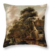 Large Farmstead On The Bank Of A River Throw Pillow