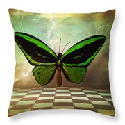 Large Green Wings Throw Pillow
