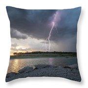 Large Lighting From Dark Clouds During Sunset At Large Lake Throw Pillow