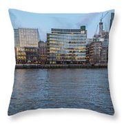 Large Panorama Of Downtown London Betwen The London Bridge And T Throw Pillow