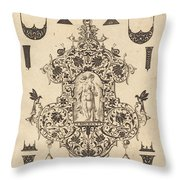 Large Pendant, Temperance Standing At Centre Throw Pillow